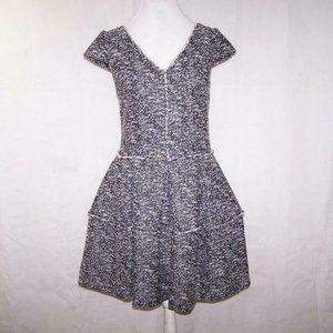 Betsey Johnson Dress 4 Tweed Cap Sleeves Fit Flare